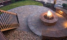 firepit with seating built right into the structure