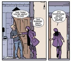 From Hawkeye vol. 4 #6: Clint Barton and Kate Bishop.