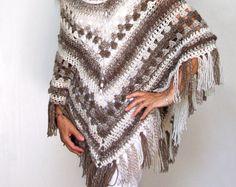 "Crochet Poncho PATTERN / Striped Wrap / Made in Canada / ""Bella Ombre Poncho"""