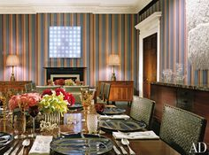 Traditional Dining Room by Peter Marino and Peter Marino in New York, New York Striped Room, House Design, Home Decor Inspiration, Decor, Beautiful Interiors, Home, Traditional Dining Room, Home Decor, Room
