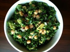 i talk to food: Chickpea, Avocado + Kale Salad  Ingredients: - Kale, chopped - Chickpeas - Avocado - Fresh basil, chopped - Red onion, minced - Garlic, minced - Sprinkle of: salt, pepper + red pepper flakes - Drizzle of: extra virgin olive oil, honey and lemon juice