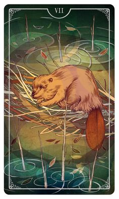Seven of Wands by Julia Iredale For the upcoming Ostara Tarot Deck- If you love Tarot, visit me at www.WhiteRabbitTarot.com