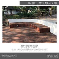 Massaranduba is a South American hardwood which is a very durable and hardwearing timber. It works very well as an outdoor decking material as it is rated highly against rot and insect attack. Decking Material, Timber Deck, Kruger National Park, Hardwood, Outdoor Decor, Home Decor, Natural Wood, Decoration Home, Room Decor