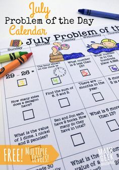 FREE July Math Problem of the Day Pack