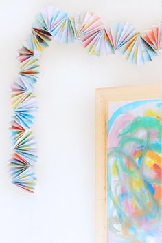 Make Paper Fan Garland with Children's Art | willowday