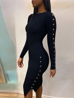 Button Slit Side Long Sleeve Dress New Arrival Bikinis, Jumpsuits, Dresses, Tops, High Heels on Sale. Sexy Dresses, Cute Dresses, Fashion Dresses, Dresses With Sleeves, Midi Dresses, Work Dresses, Sweater Outfits, Fall Outfits, Casual Outfits