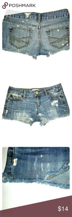 """Aeropostale Distressed/Destroyed Cutoff Jean Short Aeropostale Distressed and Destroyed Cutoff Jean Short Shorts.  Bleached blue.  5 pockets.  Laying flat, approx measurements 13"""" waist, 6"""" rise from crotch to waist, 15.25"""" from seam to seam. Aeropostale Shorts Jean Shorts"""