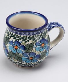 Lidia's Polish Pottery Blue & Yellow Floral Bubble Mug Blue And White China, Blue Yellow, Pottery Mugs, Pottery Art, Ceramic Bowls, Stoneware, Best Coffee Mugs, Pottery Making, Polish Pottery