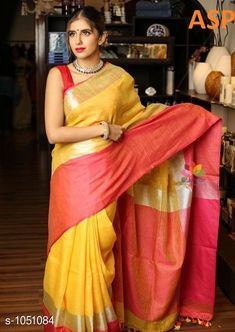 Sarees Attractive Linen Saree  *Fabric* Saree - Linen, Blouse - Linen  *Size* Saree Length With Running Blouse - 6.3 Mtr  *Work* Handloom Work  *Sizes Available* Free Size *   Catalog Rating: ★4 (1149)  Catalog Name: Aaryahi Solid Linen Sarees with Tassels and Latkans CatalogID_127991 C74-SC1004 Code: 357-1051084-