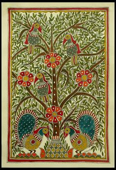 Madhubani painting, 'Celebrating the Tree of Life' by NOVICA