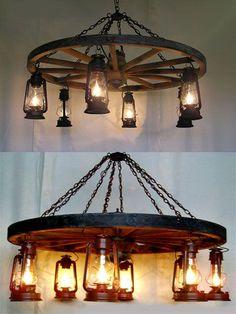Wheel-n-Lantern Chandelier - Western Decor   - Cabin Decor