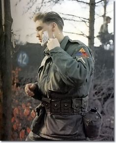 Private First Class Elvis Presley (24) in the US Army, Germany, 1959. Note the 42 in the background. The age at which he would die on August 16, 1977.