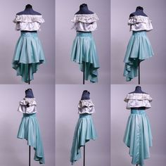 Satin and silk two piece hilow circle skirt with pelon 910 waist belt and off shoulder crop top. Measurements 32 to 35 A/B and waist Off Shoulder Crop Top, My Design, Ballet Skirt, Satin, Crop Tops, Silk, Clothes For Women, Skirts, Dresses