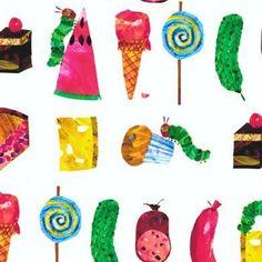 """Sehr Sehr Hungrige Raupe    Schöner Stoff von Eric Carle    Bekannt aus vielen Kinderzimmern ist dieses tolle Motiv von der """"kleinen Raupe nimmersa..."""