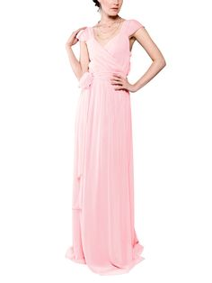 DescriptionJoanna August Newbury LongFull length bridesmaids dressVneckline with cap sleevesWrap StyleMatching tie at natural waistChiffon Light Pink Bridesmaid Dresses, Mix Match Bridesmaids, Navy Bridal Parties, Joanna August, Gowns Of Elegance, Chiffon Fabric, Formal Dresses, Wedding Dresses, Blush