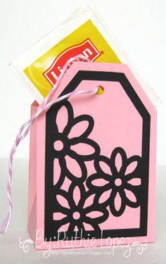 Tea bag. Inky Impressions. Flowers. Ruthie Lopez