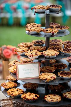 A Pink and Teal Wedding at Rose Hill Mansion in Bluffton, South Carolina Mini Cherry Pie Wedding Reception Dess. Mini Cherry Pies, Mini Pies, Mini Desserts, Cherry Desserts, Buffet Chic, Fall Wedding Desserts, Fall Wedding Decorations, Wedding Centerpieces, Table Decorations