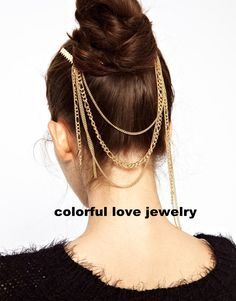 Hot sale vintage unique tassels gold head chain hair comb bridal ...