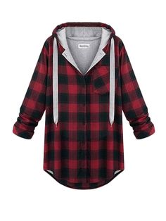 Shop Plus Size Long Sleeve Button Down Women Hoodie online at Jollychic,FREE SHIPPING!