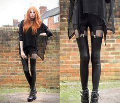 Drapey Top, Lace Collar, American Apparel Disco Shorts, Opaque Top Stockings, Shop Akira Garter Leggings, Buckled Boots