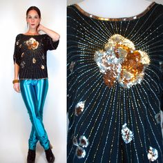 ART DECO Sunburst Beaded Sequined Draped Black by BluegrassVoodoo, $64.00