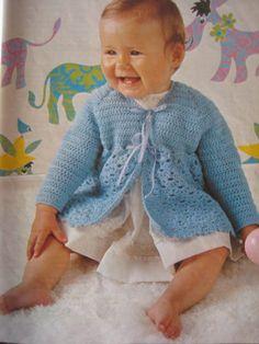 Vintage Crochet Baby Sweater Pattern PDF by vintageknitcrochet