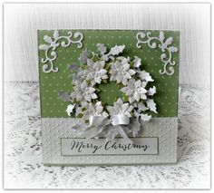 Christmas card handmade Christmas card by CarmenHandCrafts, 3d Christmas, Merry Christmas Card, Christmas Wreaths, Christmas Things, Poinsettia Wreath, Embossed Paper, How To Make Wreaths, Blank Cards, White Envelopes