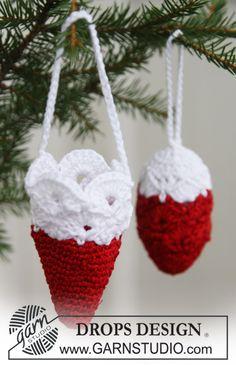 """Gehäkelte DROPS Weihnachtsdekorationen in """"Cotton Viscose"""" und """"Glitter"""". ~ DROPS Design"""