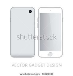 Smart phone in front and back sides on white background. Realistic vector illustration, for graphic and web design