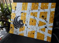 UCF Logo Black and Shiny Gold Abstract - Handpainted  - University of Central Florida Pegasus - FREE