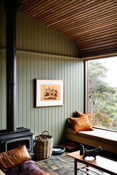 Perched on a sloping block in Victoria's Sandy Point, this cosy holiday house embraces its natural surrounds with an organic material and colour palette. Timber Panelling, Timber Cladding, Interior Cladding, Estilo Interior, Home Interior, Cabin Interior Design, Home Design, Design Design, Kennedy Nolan