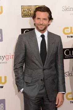 My two fav men - BRADLEY COOPER wears grey TOM FORD peak lapel suit, white shirt, charcoal tie and black leather shoes