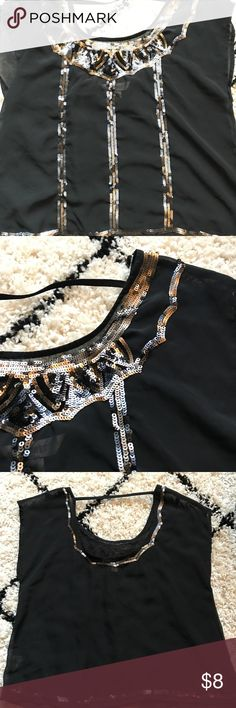 Decree black and gold sequined blouse This black blouse will look great with jeans! It is sheer and has a scoop neck back that will sit slightly above the bra line. It has been worn a few times and is in great condition! Decree Tops Blouses