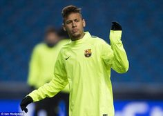 Brazilian ace Neymar trains ahead of Tuesday's game against Manchester City in the Champio...