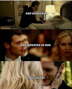 "#TVD The Vampire Diaries Klaus & Caroline ""And suddenly the monster in him, falls silent."""