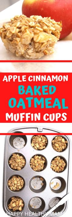 YES YES YES!! Apple Cinnamon  Baked Oatmeal Cups are the best health breakfast and snack idea. These are dairy free, gluten free, and naturally sweetened. SO good for toddler finger food! Healthy Cookie Recipes, Peanut Butter Recipes, Healthy Breakfast Recipes, Dairy Free Recipes, Clean Eating Recipes, Gluten Free, Healthy Food, Healthy Kids, Vegetarian Recipes