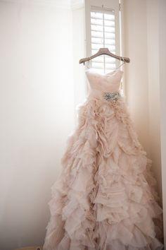 Wedding Dress,Blush pink Long Ruffle Wedding Dress Featuring Spaghetti Straps