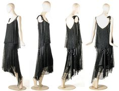 Chemise dress, Chanel, late 1920s. Chantilly-style lace over black crepe de chine. Scoop neckline with attached, loose asymmetrical bodice layer and ribbon bow on right shoulder. Low waistline with satin sash, including long ribboned bow at back. Lace overskirt flared & decorated with ribbon arrows each side, radiating from back waist. Asymmetrical hem dips front to back. Underskirt hem trimmed in lace.