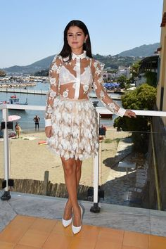 Pin for Later: This Week's Can't-Miss-Them Celebrity Photos  Selena Gomez redefined Summer dressing with a sheer combination at the Ischia Global Film and Music Fest.