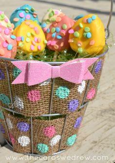 Polka Dot Burlap Wire Easter Basket (easy tutorial)