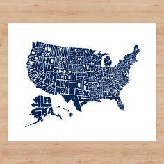 "US Typographic Map - 20"" x 16"" Letterpress Print – Stately Type"