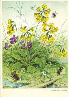 Frühling - Frosch-Biene, Käfer beim Angeln, Künstlerkarte Fritz Baumgarten