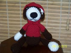 Brown Puppy Dog stuffed Animal WithRed by MadeinMassachusetts
