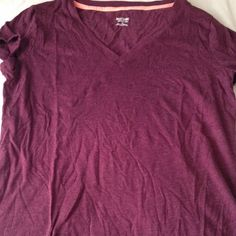 Maroon basic v-neck t-shirt Maroon basic v-neck t-shirt. I am not willing to do trades. This comes from a smoke free environment! Mossimo Supply Co. Tops Tees - Short Sleeve
