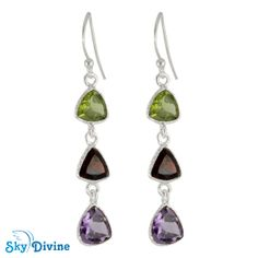 Exclusive Handmade Sterling Silver Multi Stones Earring with exciting combination of peridot, Garnet & Amethyst gemstone perfect for Christmas Gift , www.skydivine.com.au to buy jewellery $46.08