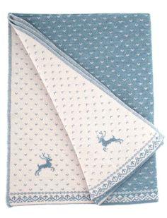 Reversable woolen wrap blanket with Scandinavian design in winterly grey blue and écru. Oh deer!