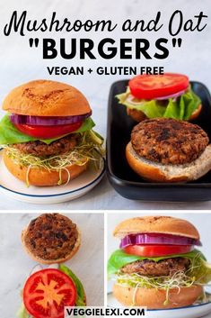 These delicious vegan and gluten free veggie burgers and so easy to make! Thanks to the magical power of ground oats, they hold together incredibly well. Plus, with all the sauteed veggies and tasty spices, they are super delicious! #veggielexi #veganrecipes #glutenfreerecipes #veggieburger #burgerrecipes #burgers