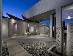 Modern Entry, Ultra Modern Courtyard, Contemporary Entry, Home Inspiration, Arizona Architecture, Nature Inspired Interior Ideas, Creative Decor, Desert Designs, Custom Home