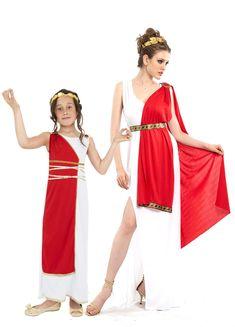 Römer Kostüm Mutter und Tochter: Das römische Göttin Kostüm für Damen besteht aus ein langes Kleid, ein roter Umhang, ein Stirnband und ein Gürtel (die Schuhe sind nicht inbegriffen).Das lange weiße...
