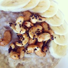 A scrumptious bowl of #oatmeal with banana and black sesame maple cashews #breakfast